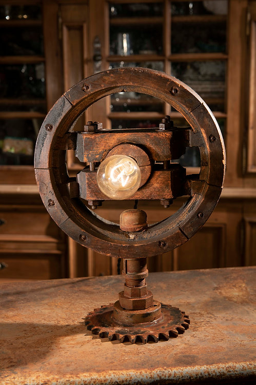 Pushy-Pulley; Vintage drive line pulley and gears lamp