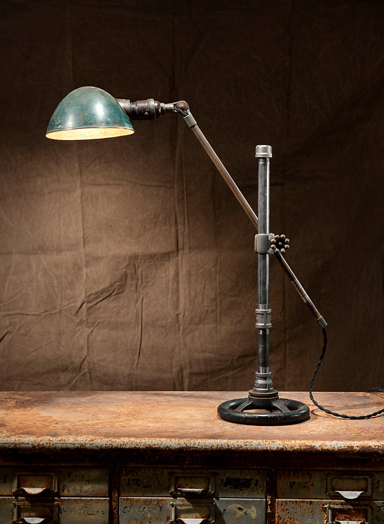 Hubble desk Lamp; re-cycled desk lamp and pipe stand