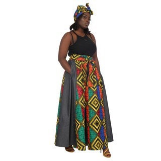 Denim Maxi Skirt inlaided with African Print Fabric