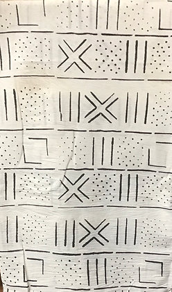 African Mud Cloth PRINT Fabric - #41 - White