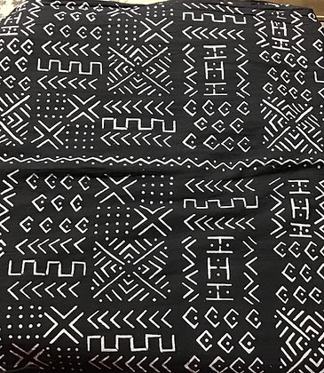 African Mud Cloth PRINT Fabric - #96 - black background with white images