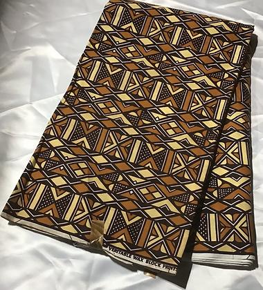 African Print Fabric, tan, beige, black