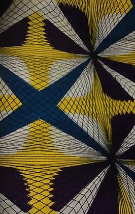 African Fabric, yellow, blue, purple