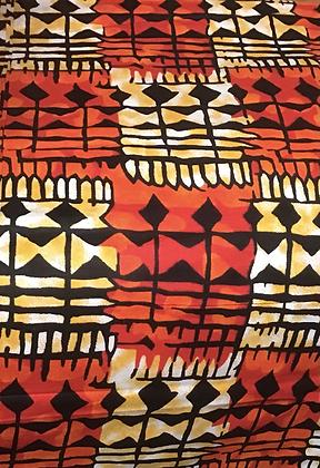 African Print Fabric,  black, white, orange, gold