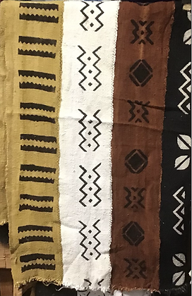 Hand Woven Mud Cloth (4) black, gold, white and brown