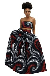 Majestic African Print Maxi Skirt, head wrap and mask