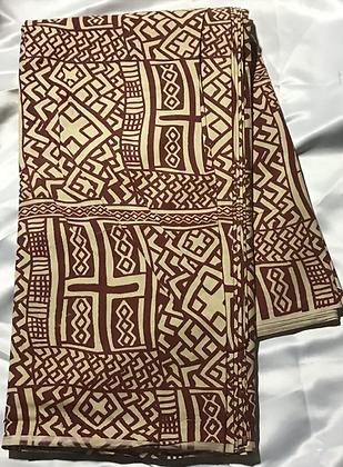African Print Fabric, beige, burgundy