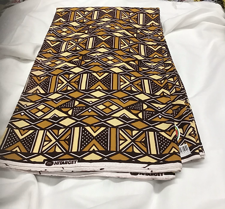 African Print Fabric, gold, yellow, black, white