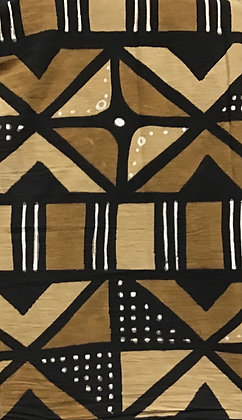 African Mud Cloth PRINT Fabric - #77, beige, tan, black, white, dots, diamonds