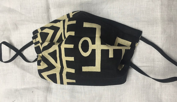African Print Black and Off White Mask