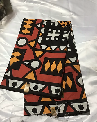 African Print Fabric, orange, gold, black, white
