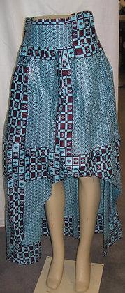 Blue & Brown Women's High-Low Skirt