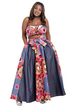African Print Long Length Skirt - Mixed Denim