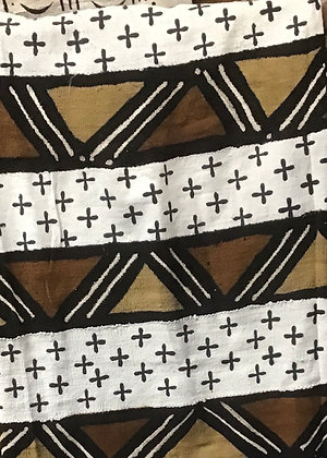Hand Woven Mud Cloth (57) brown, gold, white, crosses