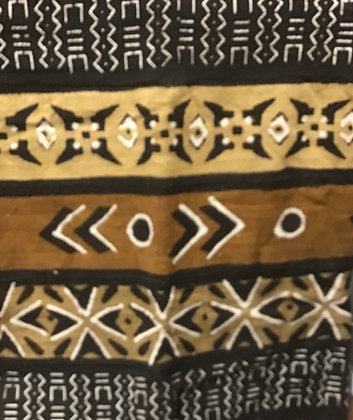 Hand Woven Mud Cloth (22) lines, dots, diamonds, brown, gold, black and