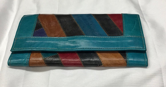 Cowhide Leather Wallet, turquoise, black, gold, burgundy