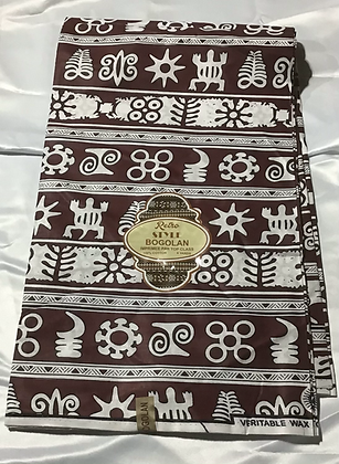 African Print Fabric, Bogolan, brown, turtles