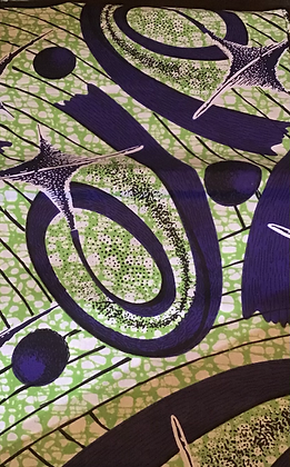 African Print Fabric, green, purple, white, black