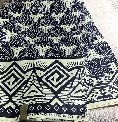 African Print Fabric, blue, white