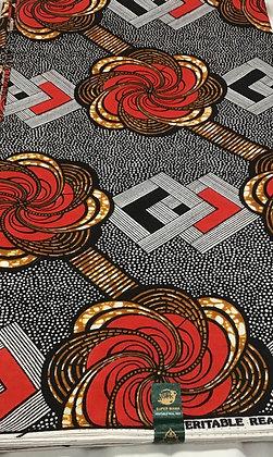 African Wax Print Fabric, red, black, white, swirls, dots