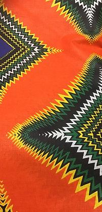 African Print Fabric, orange, yellow, green and white
