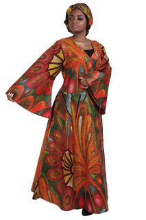African Print Wrap Dress, head wrap and mask