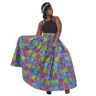 African Print Maxi Skirt, fuschia, green, sky blue