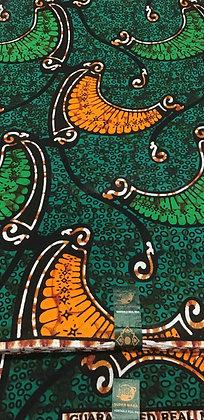 African Wax Print Fabric,  green, black, brown