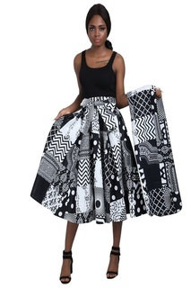 Patchwork Black and White African Print Mid Length Skirt, head wrap and mask