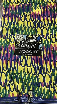 Woodin Graffitti Fabric, yellow, magenta, green, blue