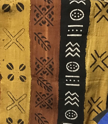 Hand Woven Mud Cloth (3) black, gold, white and brown