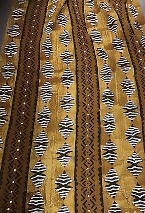 Hand Woven Mud Cloth (60) brown, gold, fish