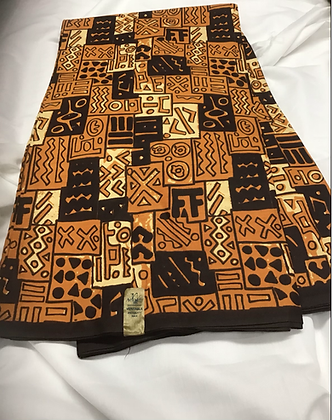 African Print Fabric, yellow, brown, orange, abstract
