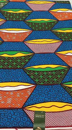 African Wax Print Fabric,  blue, yellow, green, orange