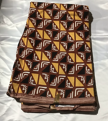African Print Fabric, brown, gold, black