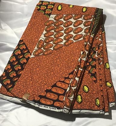 African Print Fabric, orange, black, yellow