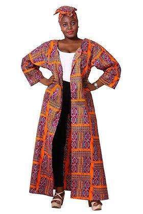 African Print Kimono  and Scarf - Orange Print