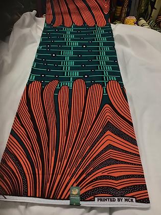 African Wax Print Fabric, green, coral, black