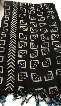 Black and White Tassel Mud Cloth Scarve