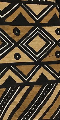African Mud Cloth PRINT Fabric - #75,  beige, tan, black, white, dots, diamonds