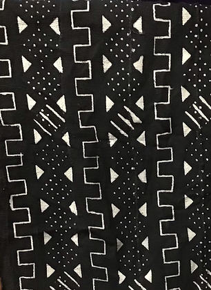 Hand Woven Mud Cloth (9) black diamonds with dots and lines