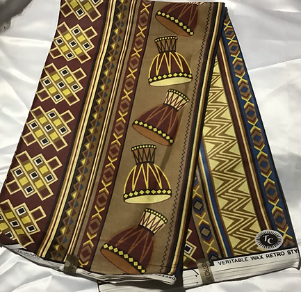 African Print Fabric, yellow, brown, drums
