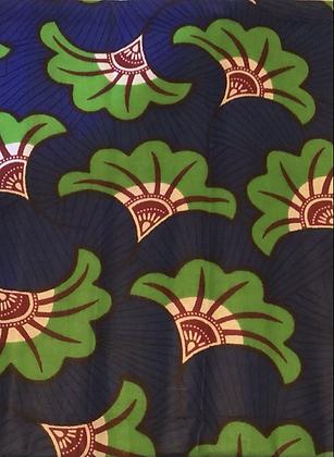 African fabric print, flowers, blue, green, burgundy