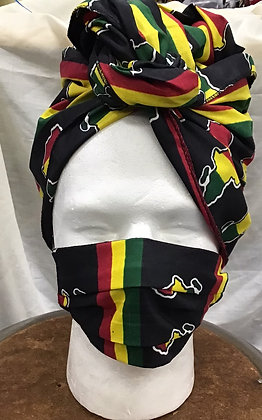 African Print Fabric Head Wrap and Mask -Yellow, Green, Black Map