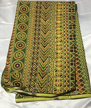 African Print Fabric, orange, yellow, green, black, red