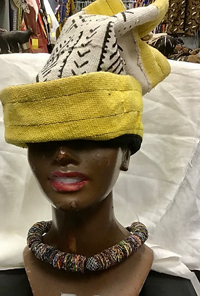 Mud Cloth Tall Hat, white and yellow