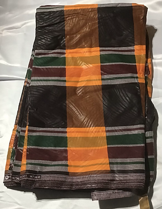 African Print Fabric, black, orange, green, burgundy