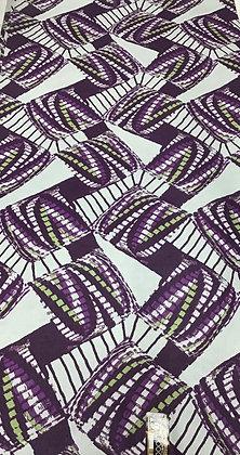 Woodin Print Fabric, green, lilac, pirple