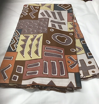 African Print Fabric, yellow, white, brown, orange, abstract