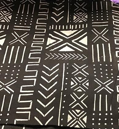 African Mud Cloth PRINT Fabric - #66, dark brown/black